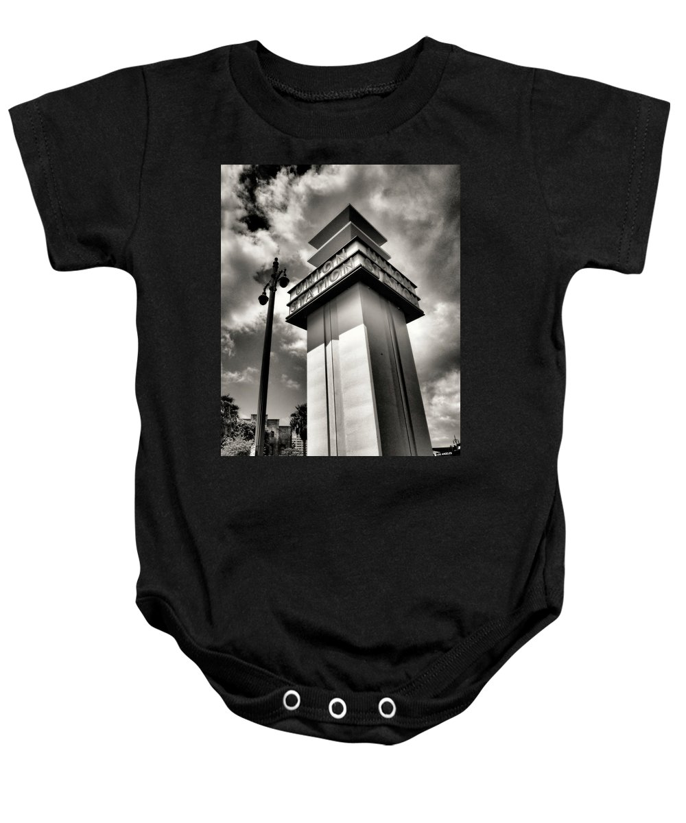 Los Angeles Union Station Train Downtown Baby Onesie featuring the photograph Union Station by Bill Grolz