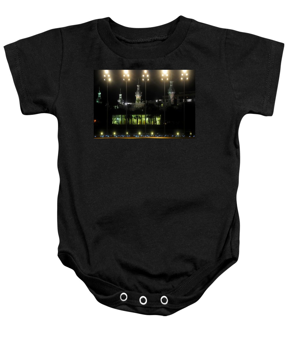 University Of Tampa Baby Onesie featuring the photograph University Of Tampa Lights by David Lee Thompson