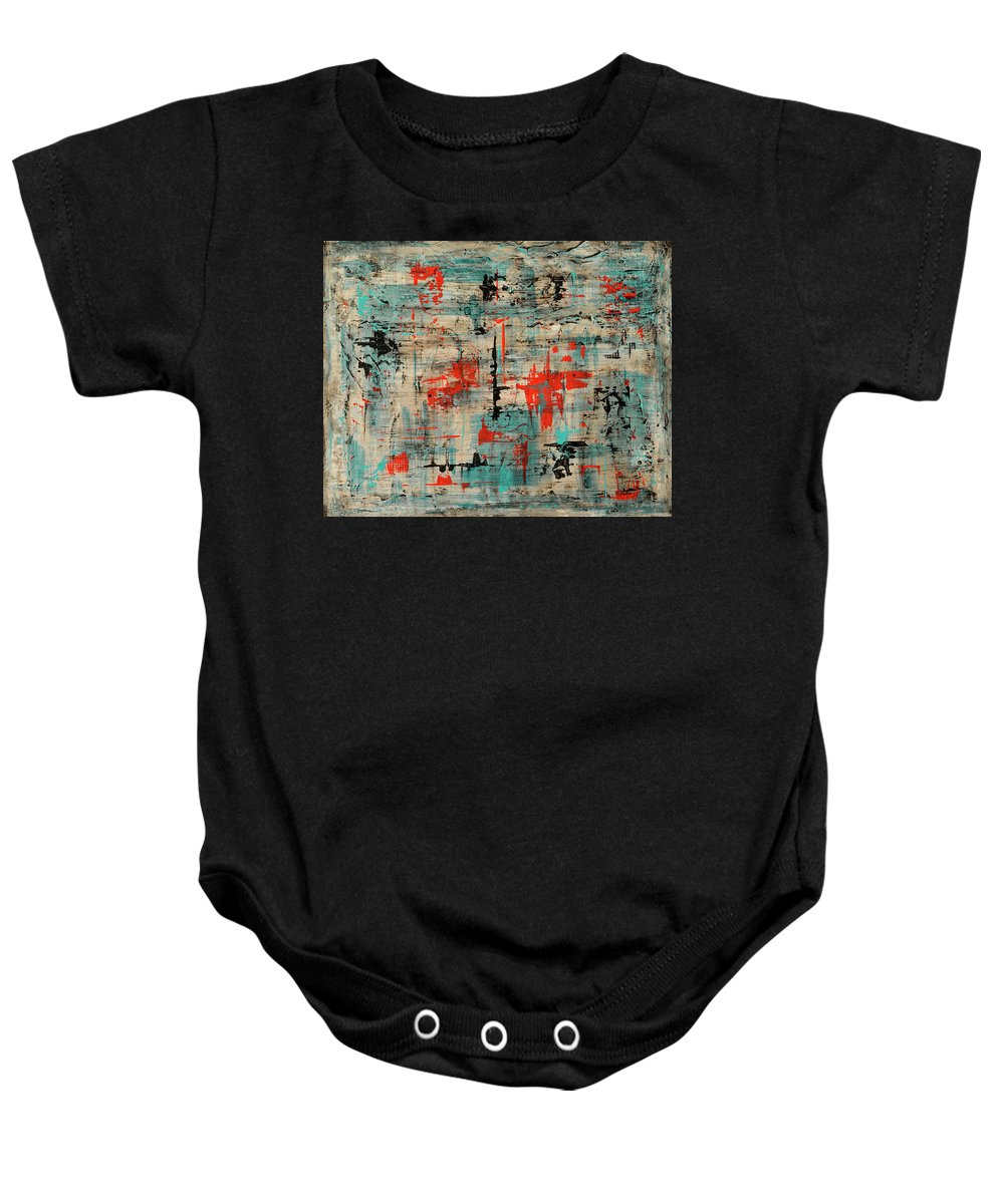 Abstract Baby Onesie featuring the painting Unleashed by Jim Benest