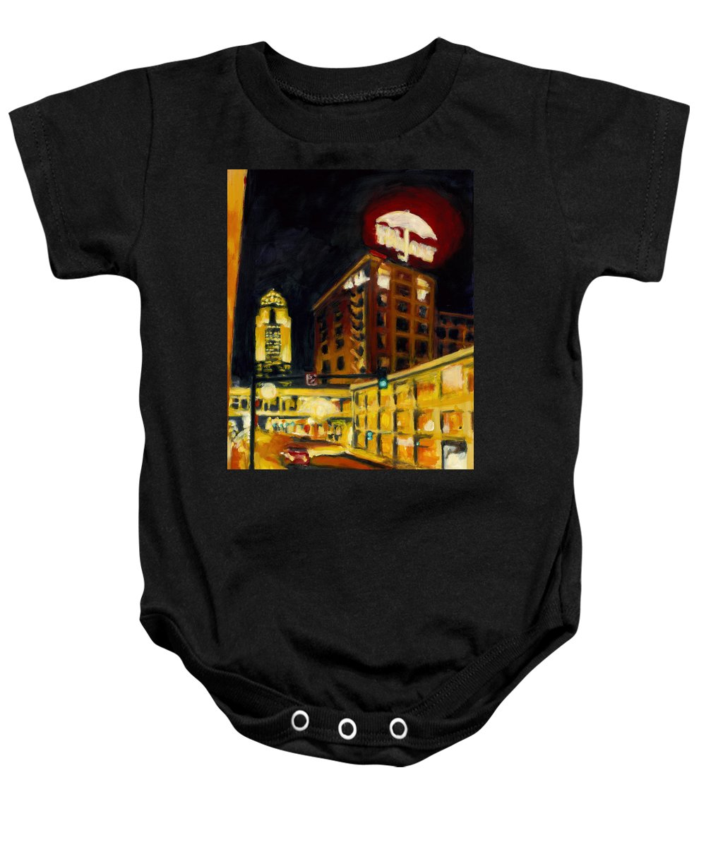 Rob Reeves Baby Onesie featuring the painting Untitled In Red And Gold by Robert Reeves