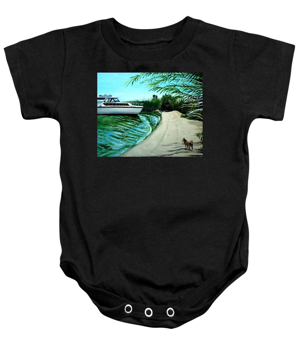 Beach Baby Onesie featuring the painting Upon Ashore by Elizabeth Robinette Tyndall