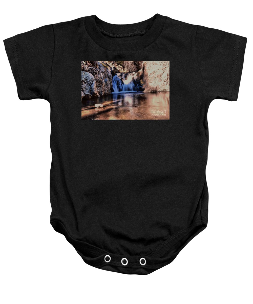 Water Baby Onesie featuring the photograph Upper Jemez Falls New Mexico by Jeff Swan
