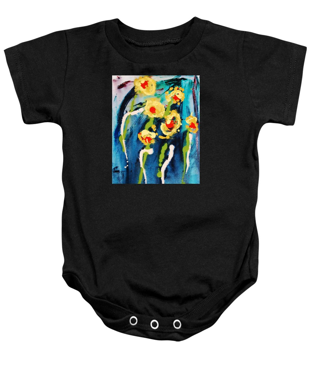 Abstract Baby Onesie featuring the painting Urban Garden by Lauren Luna