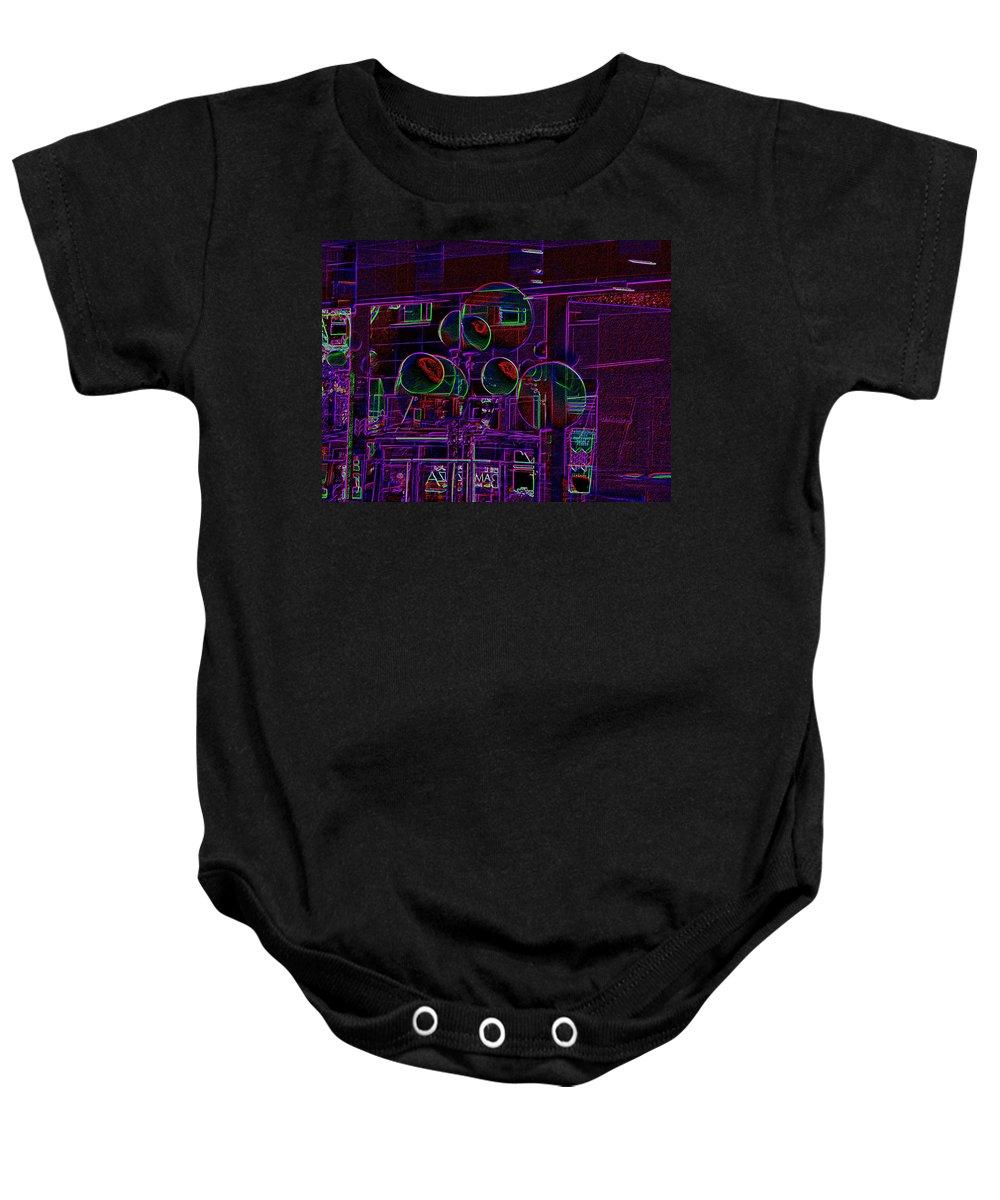 Street Baby Onesie featuring the digital art Urban Street Scene by Tim Allen