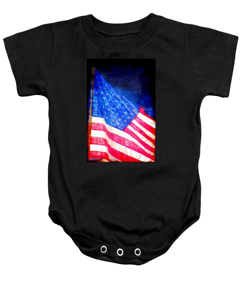 Flag Baby Onesie featuring the photograph USA by Donna Bentley