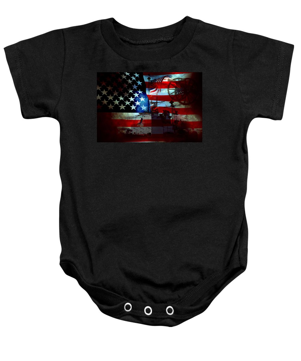 War Baby Onesie featuring the photograph Usa Patriot Flag And War by Phill Petrovic