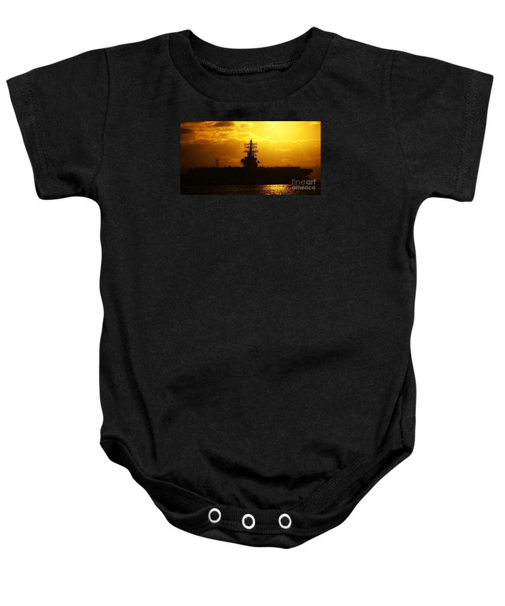 Uss Navy Baby Onesie featuring the photograph Uss Ronald Reagan by Linda Shafer
