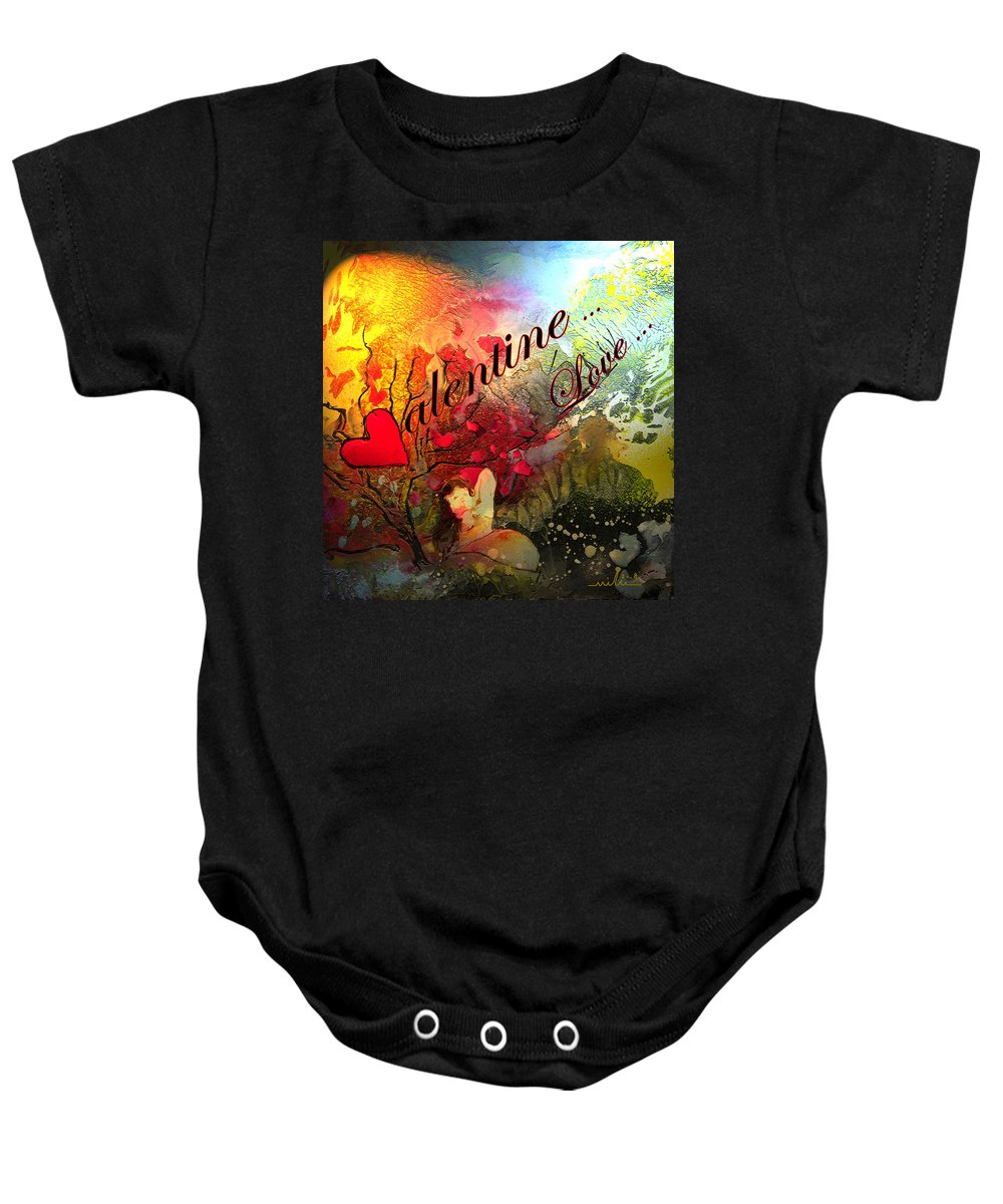 Valentine Baby Onesie featuring the painting Valentine by Miki De Goodaboom