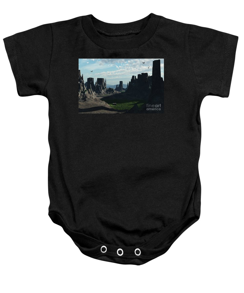 Valley Baby Onesie featuring the digital art Valley Of The Kings by Richard Rizzo