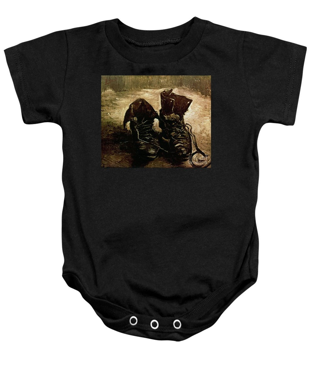 1886 Baby Onesie featuring the photograph Van Gogh Boots 1886 by Granger
