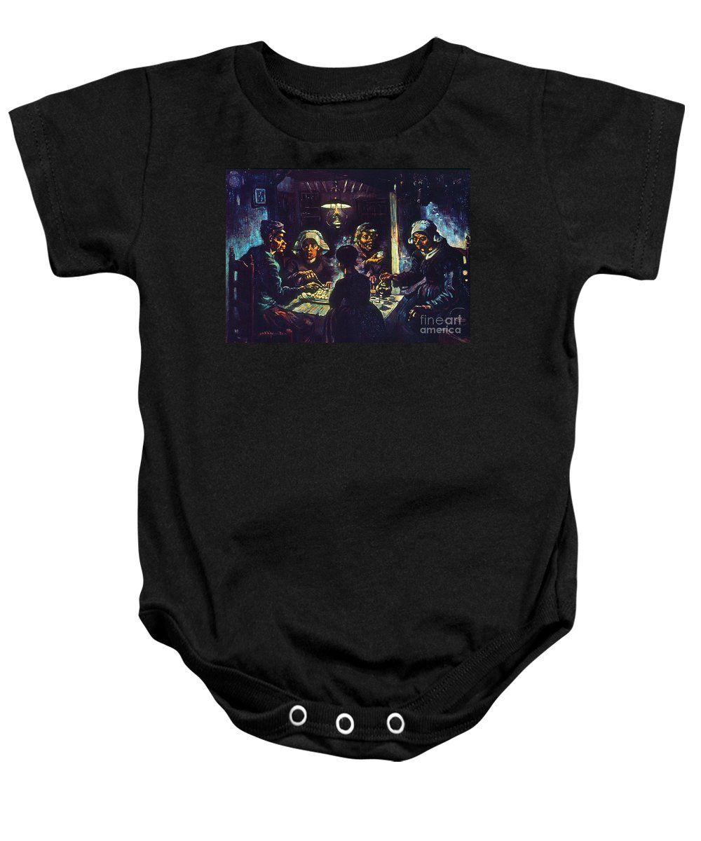 1885 Baby Onesie featuring the photograph Van Gogh Potato Eaters by Granger