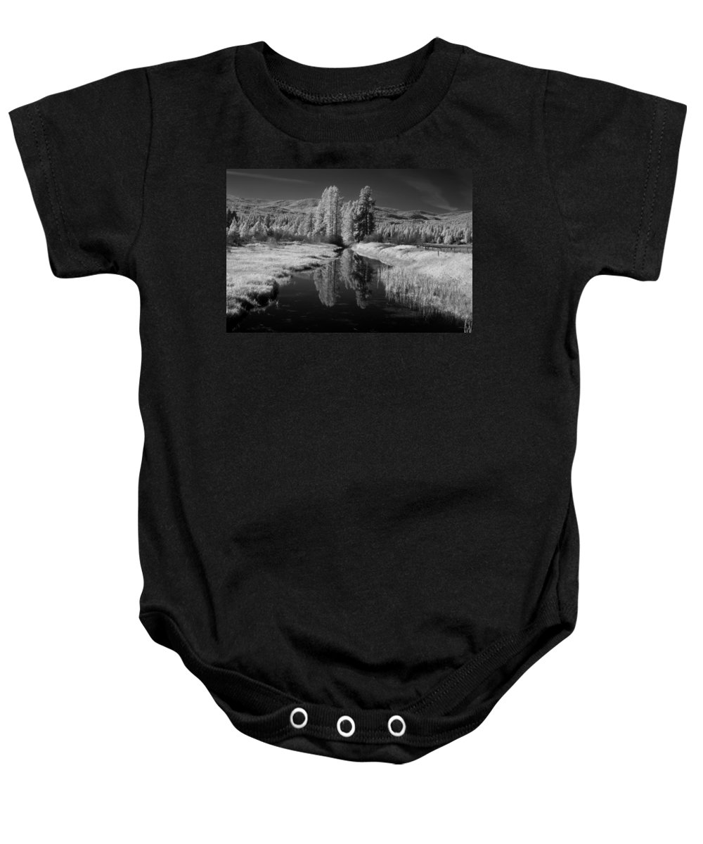 B&w Baby Onesie featuring the photograph Vay Road Ditch by Lee Santa