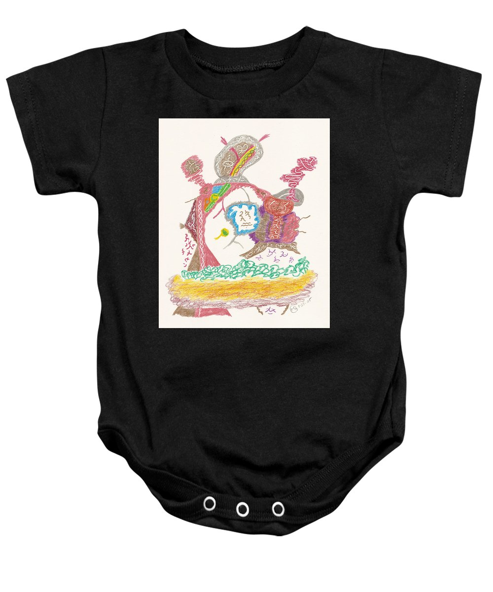 Shaman Baby Onesie featuring the drawing Vedauwoo Shaman by Mark David Gerson