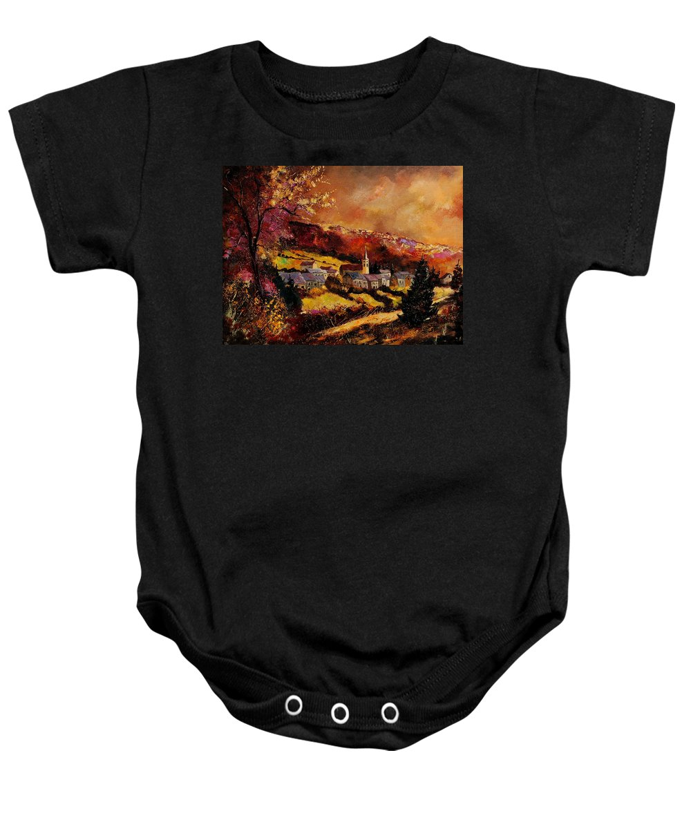 River Baby Onesie featuring the painting Vencimont village ardennes by Pol Ledent