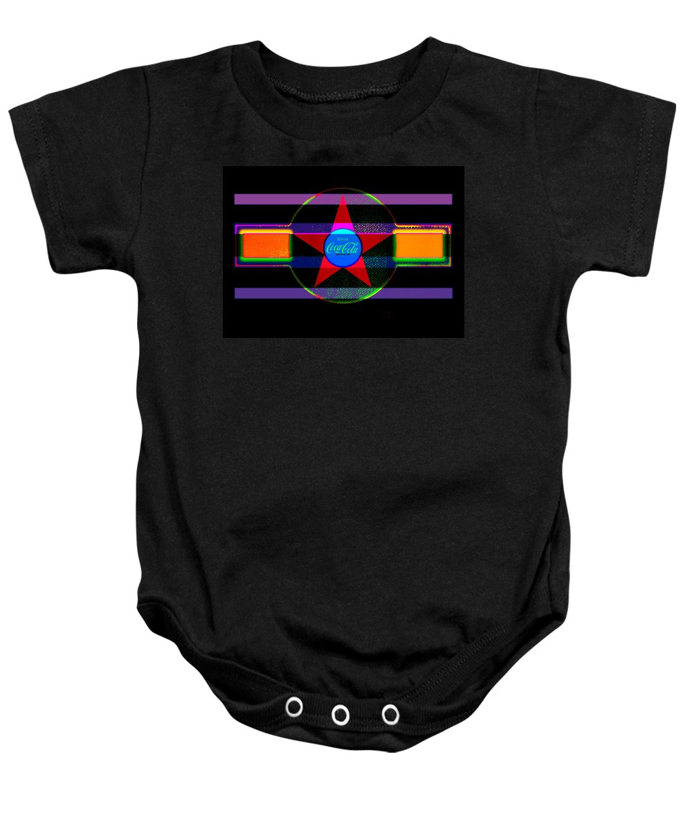 Label Baby Onesie featuring the painting Venetion Neon by Charles Stuart