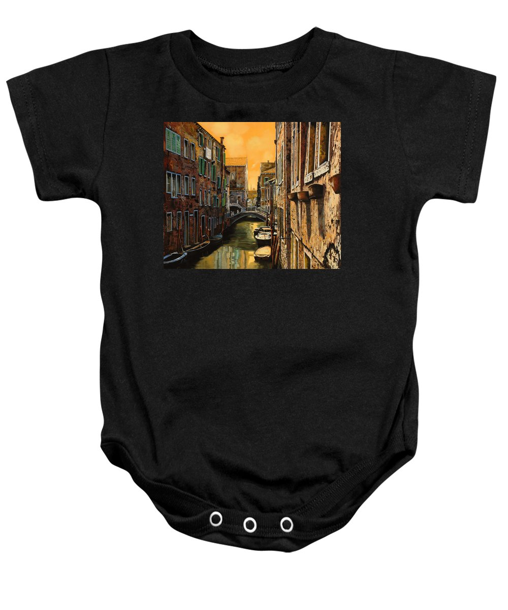 Venice Baby Onesie featuring the painting Venezia Al Tramonto by Guido Borelli