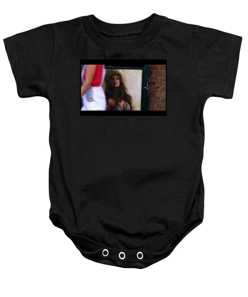 Venice Baby Onesie featuring the photograph Venice Cowgirl by Charles Stuart