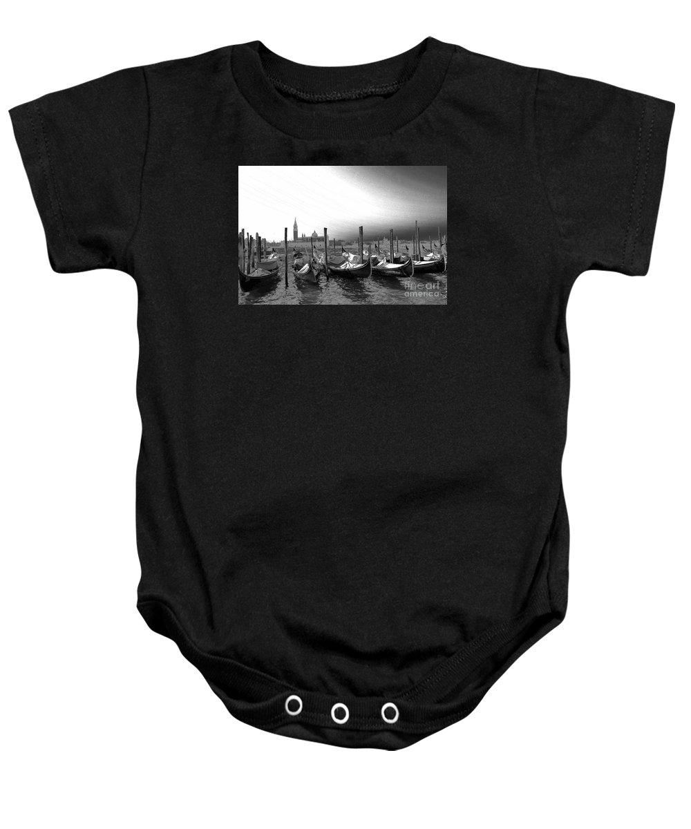 Gondolas Baby Onesie featuring the photograph Venice Gondolas Black And White by Rebecca Margraf