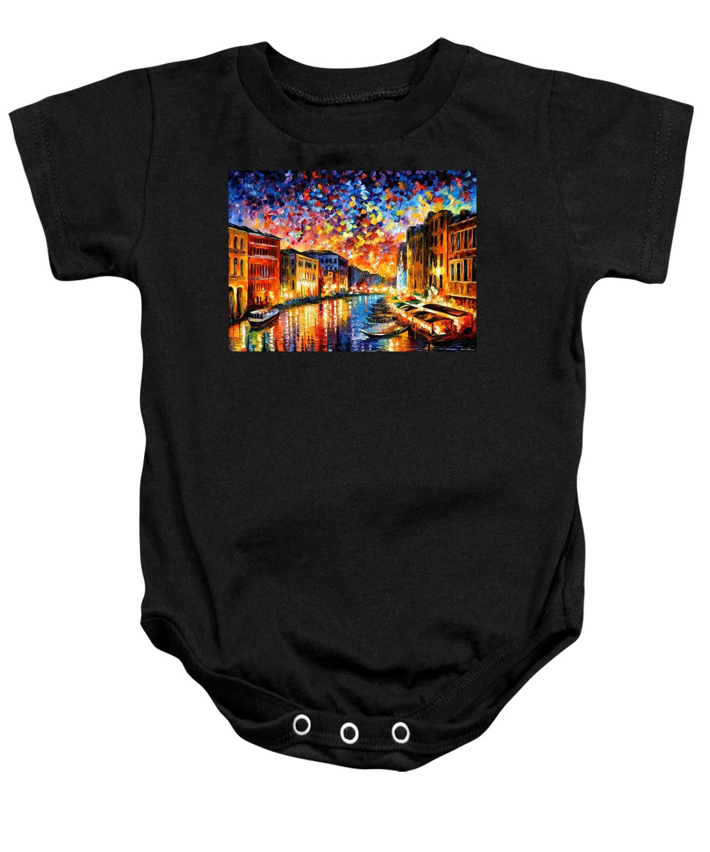 Afremov Baby Onesie featuring the painting Venice - Grand Canal by Leonid Afremov