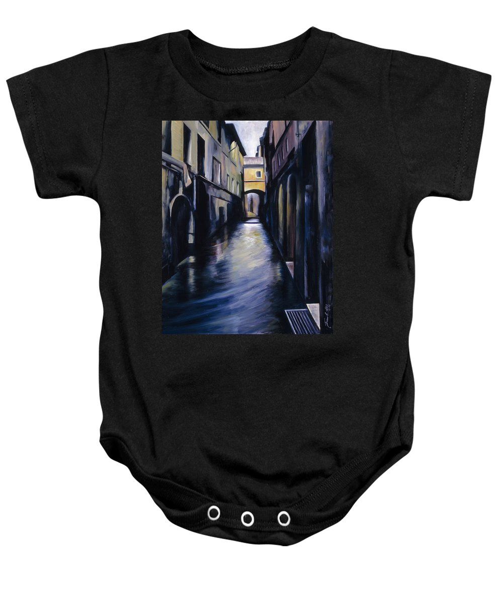Street; Canal; Venice ; Desert; Abandoned; Delapidated; Lost; Highway; Route 66; Road; Vacancy; Run-down; Building; Old Signage; Nastalgia; Vintage; James Christopher Hill; Jameshillgallery.com; Foliage; Sky; Realism; Oils Baby Onesie featuring the painting Venice by James Christopher Hill