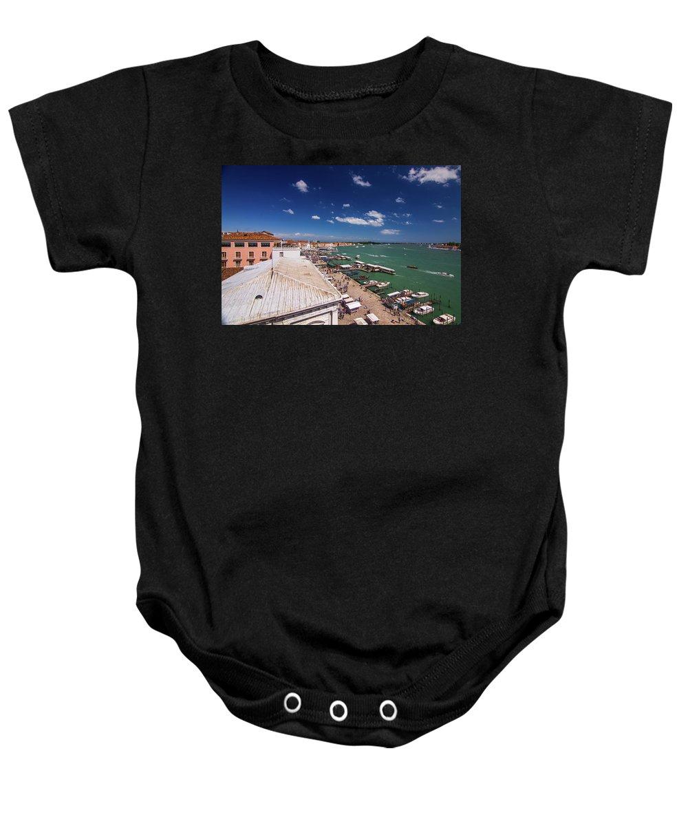 Italy Baby Onesie featuring the photograph Venice Lagoon Panorama - Bird View by Anastacia Petropavlovskaja