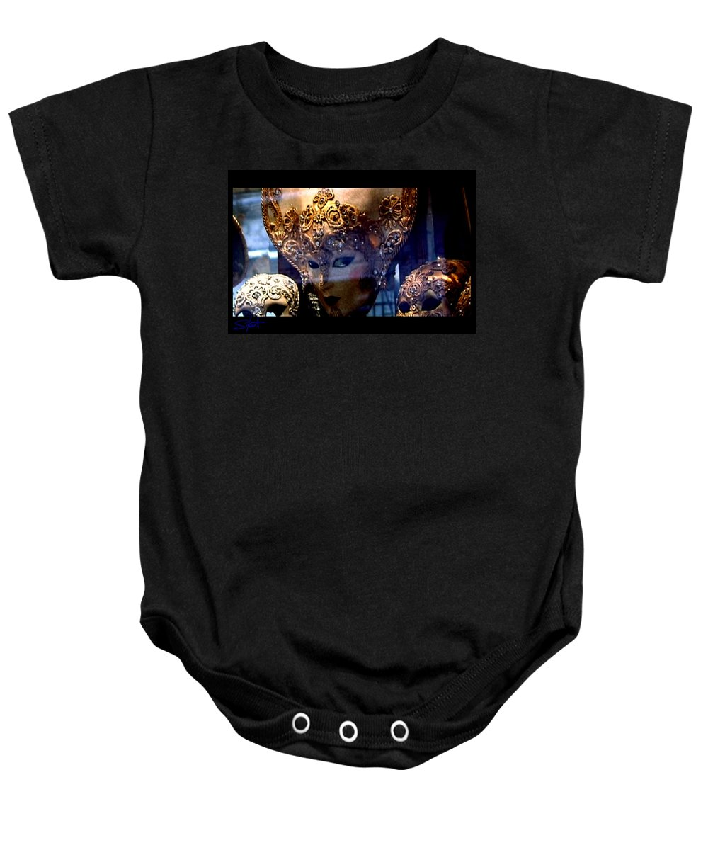 Venice Baby Onesie featuring the photograph Venician Masks by Charles Stuart