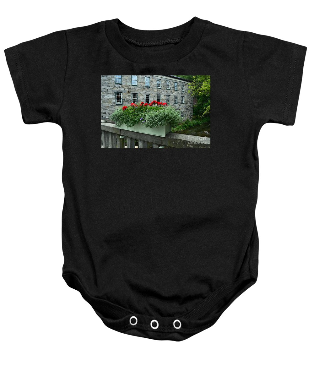 Woodstock Baby Onesie featuring the photograph Vermont Bridge Flower Box by Catherine Sherman