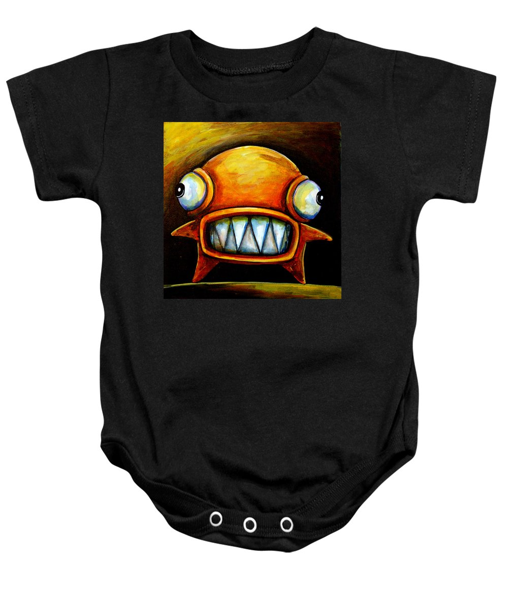 Scarey Baby Onesie featuring the painting Very Scarey Glob by Leanne Wilkes