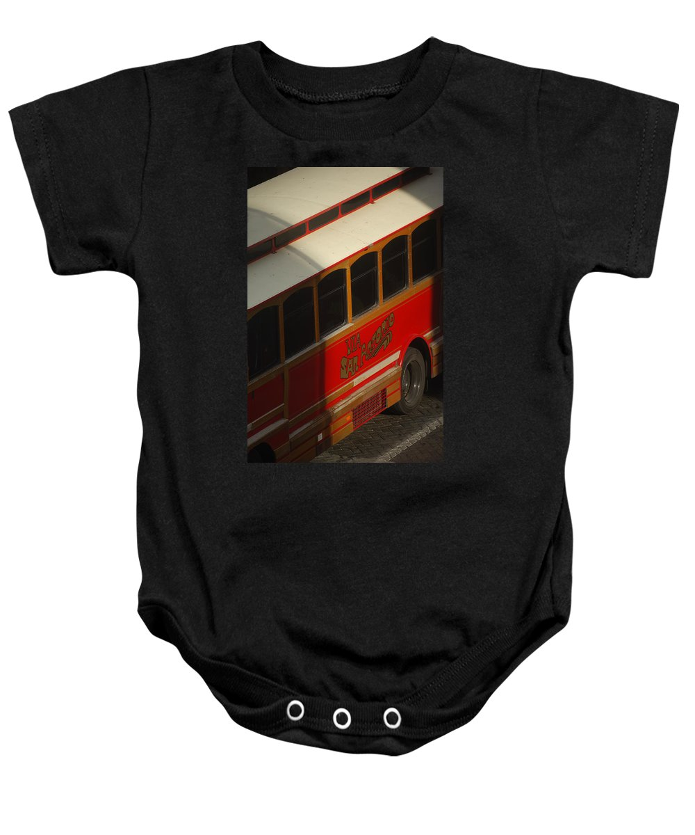 Trolley Baby Onesie featuring the photograph Via San Antonio Trolley by Jill Reger