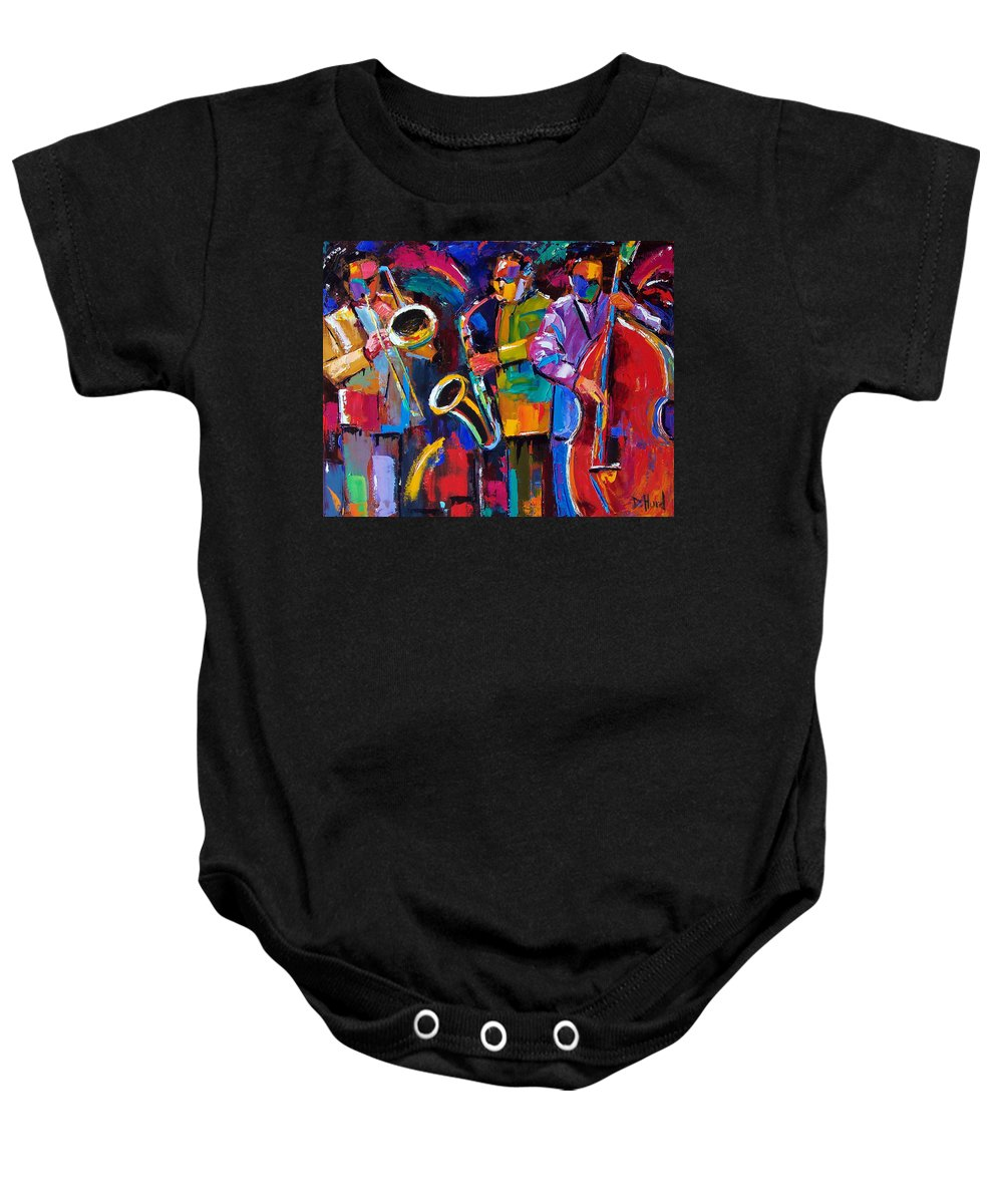 Jazz Baby Onesie featuring the painting Vibrant Jazz by Debra Hurd