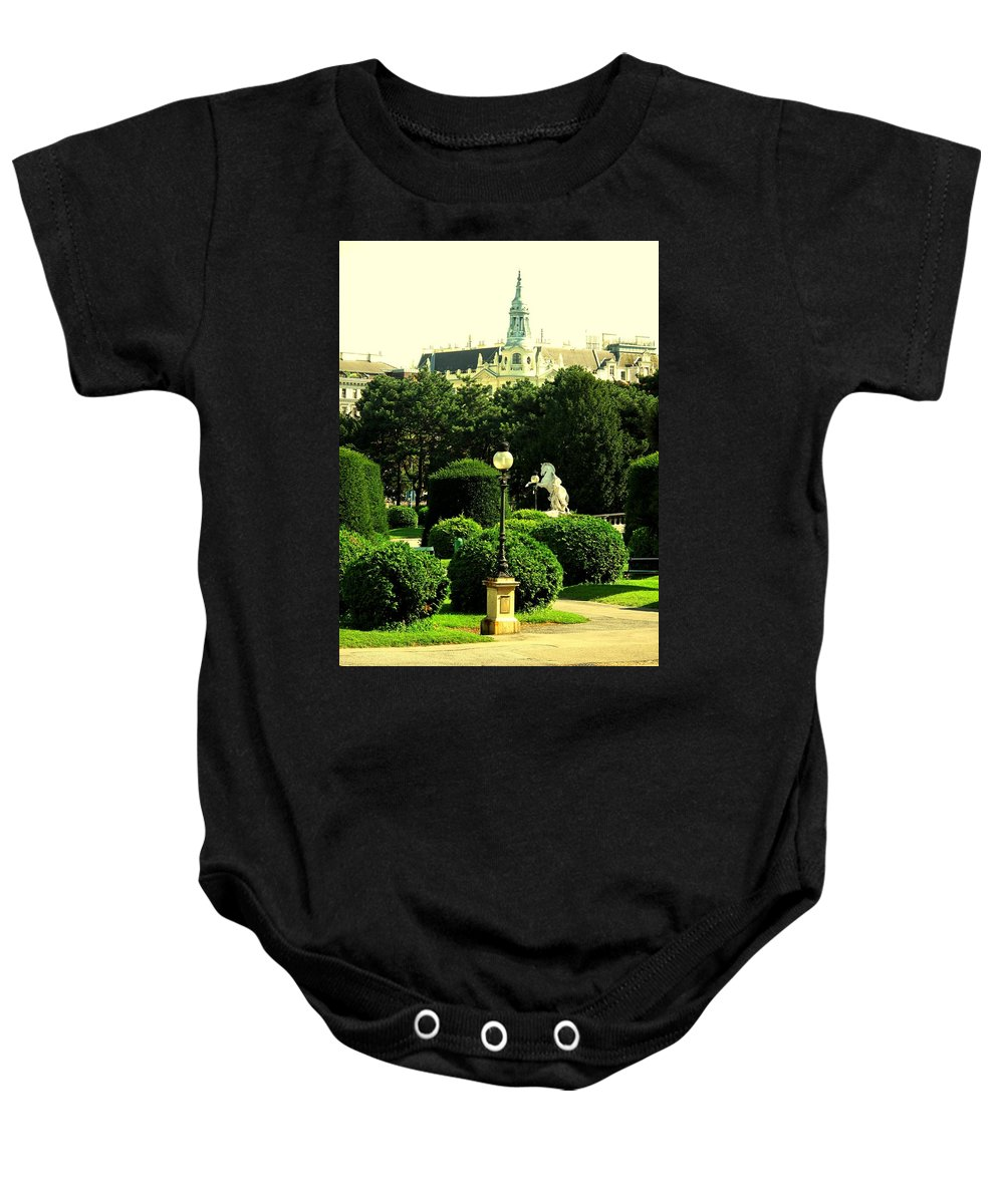 Vienna Baby Onesie featuring the photograph Vienna Park by Ian MacDonald