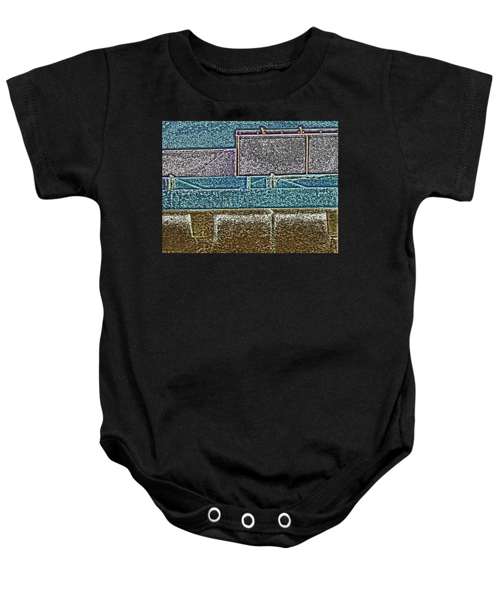 Abstract Baby Onesie featuring the digital art View From The Bank 3 by Lenore Senior
