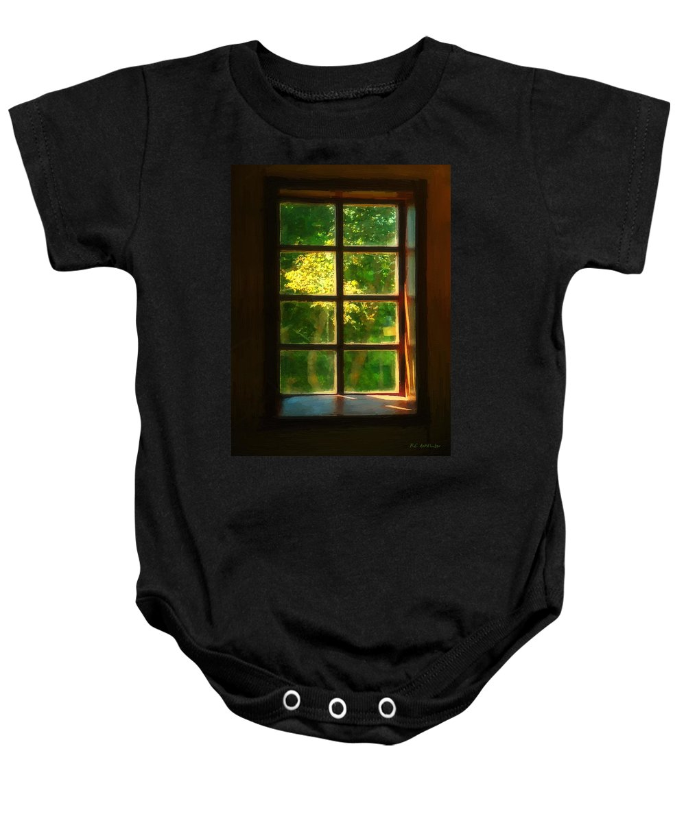 Autumn Baby Onesie featuring the painting View from the Orwell Corner Church by RC DeWinter