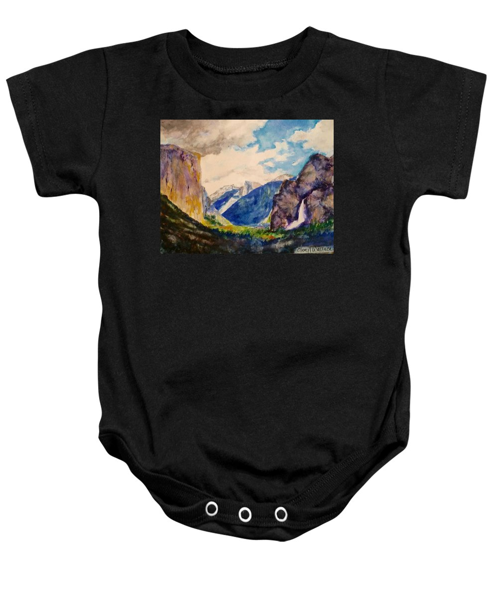 Yosemite Baby Onesie featuring the painting View From The Tunnel by Cheryl Wallace