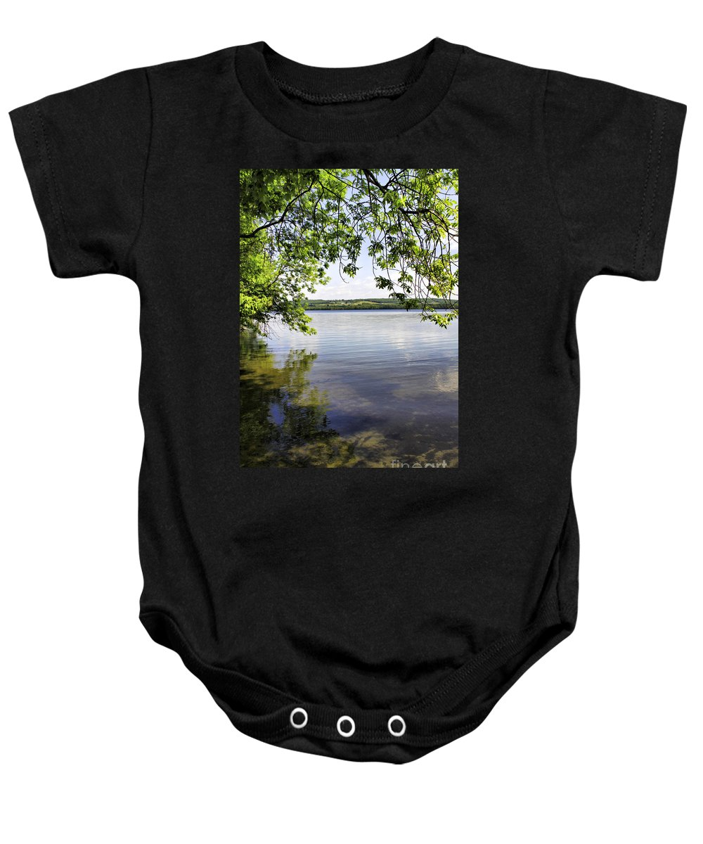 Vermont Baby Onesie featuring the photograph View From Under At Lake Carmi by Deborah Benoit