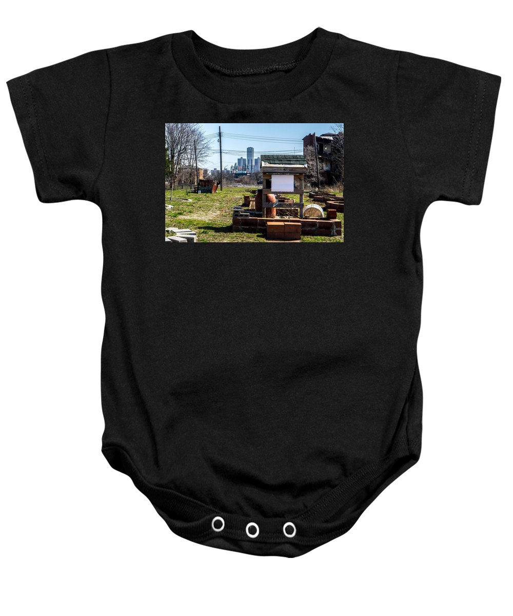 Detroit Michigan Downtown Brushpark Baby Onesie featuring the photograph view of Oz by Terry Cross