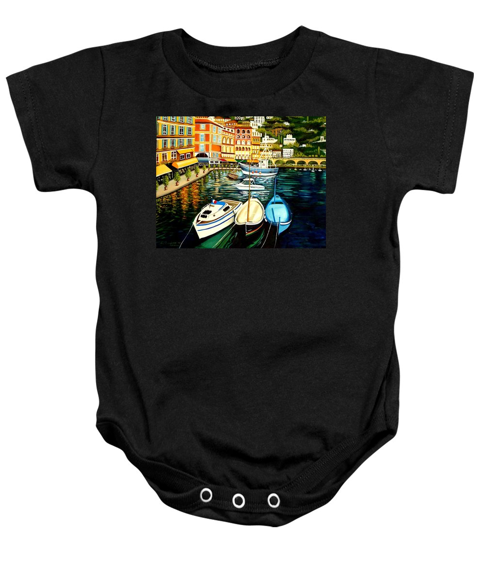 Landscape Baby Onesie featuring the painting Villa Franche by Elizabeth Robinette Tyndall