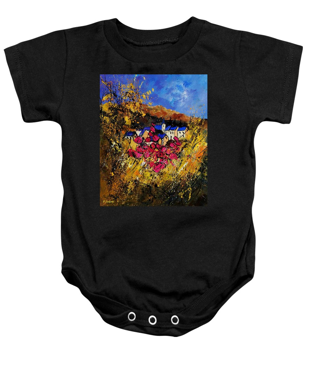 Flowers Baby Onesie featuring the painting Village 450808 by Pol Ledent