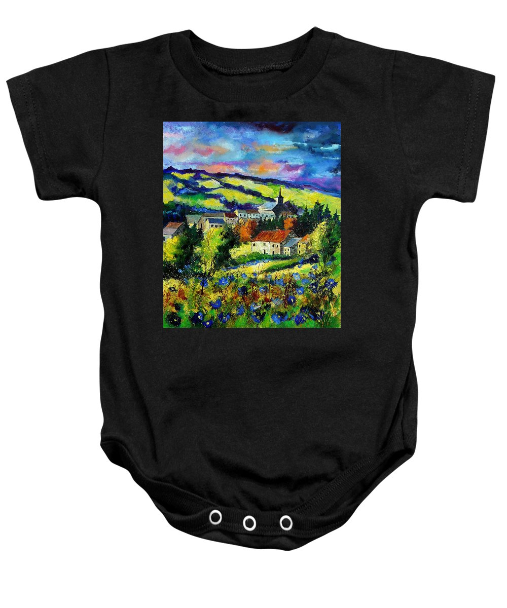 Landscape Baby Onesie featuring the painting Village And Blue Poppies by Pol Ledent