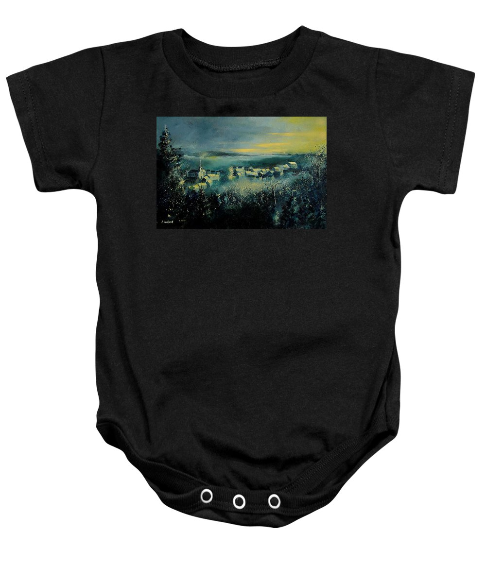 Village Baby Onesie featuring the painting Village In A Misty Morning by Pol Ledent