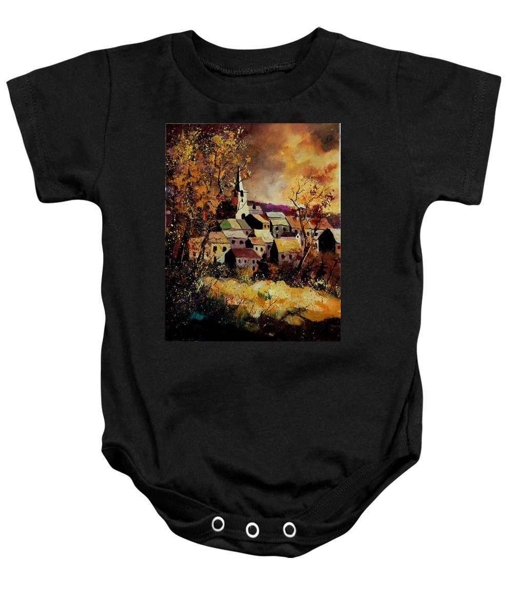 River Baby Onesie featuring the painting Village In Fall by Pol Ledent
