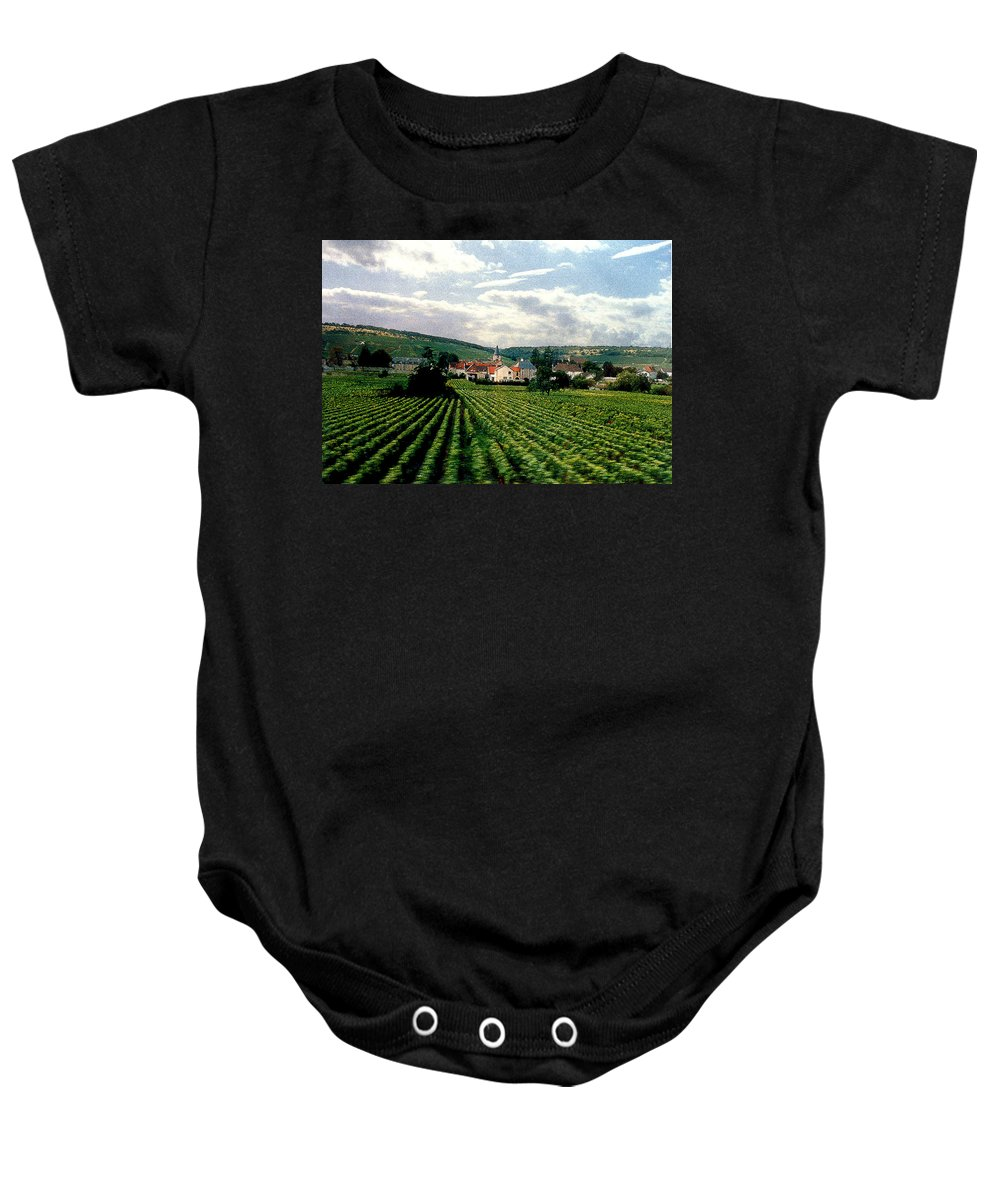 Vineyards Baby Onesie featuring the photograph Village In The Vineyards Of France by Nancy Mueller