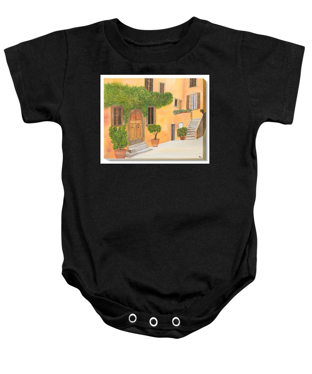 Tuscany Baby Onesie featuring the painting Village In Tuscany N. 4 - by Sandra Lorant