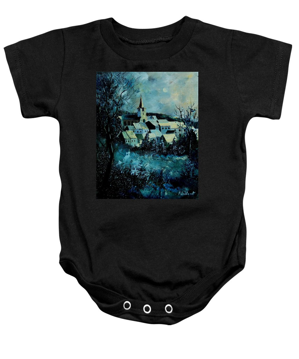 River Baby Onesie featuring the painting Village in winter by Pol Ledent