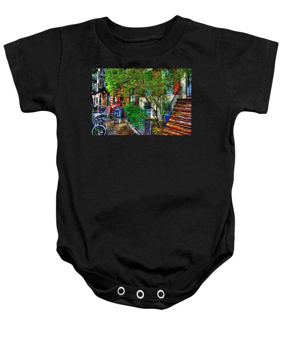 Townhouse Baby Onesie featuring the photograph Village Life by Randy Aveille