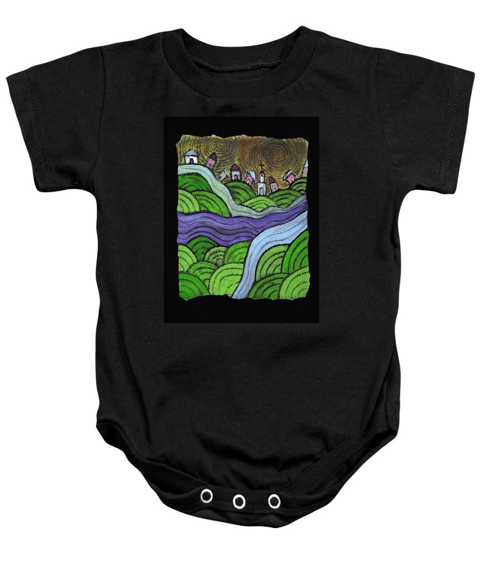 Village Baby Onesie featuring the painting Village On The Hill by Wayne Potrafka