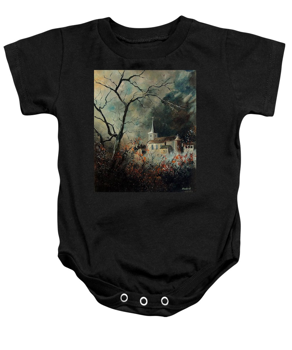Tree Baby Onesie featuring the painting Village Vivy by Pol Ledent