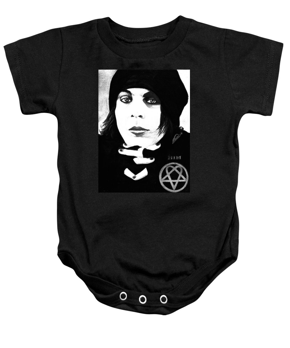 Ville Valo Baby Onesie featuring the painting Ville Valo Portrait by Alban Dizdari