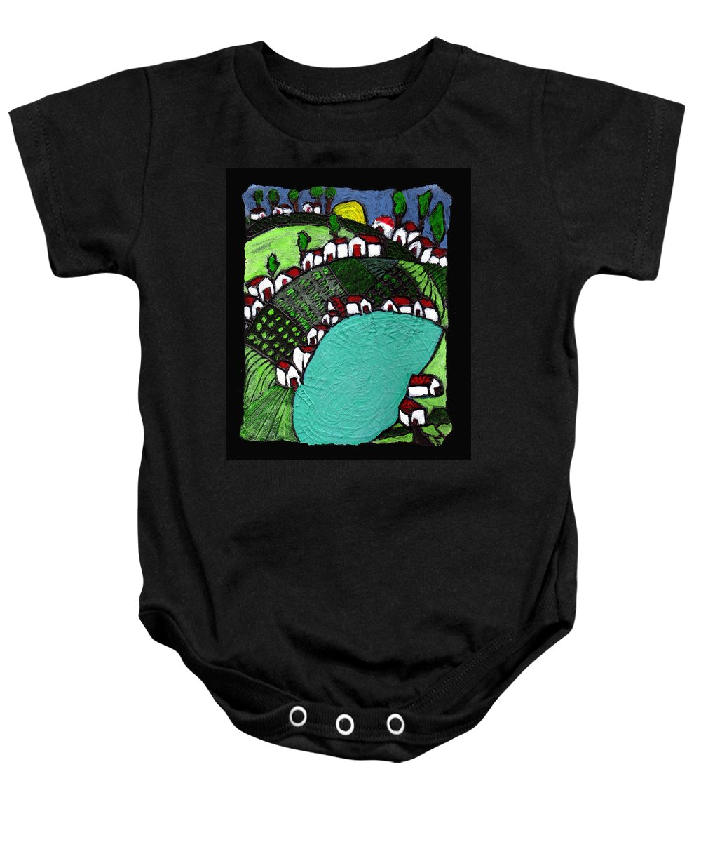Village Baby Onesie featuring the painting Villlage By The Pond by Wayne Potrafka