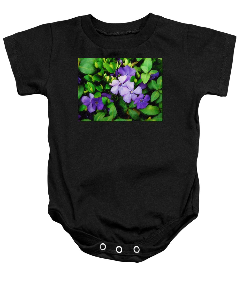 Vinca Baby Onesie featuring the photograph Vinca by Sandy MacGowan